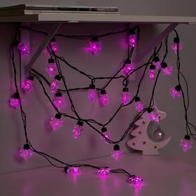 Гирлянда 'Нить' улично-комнатная с насадками 'Ель большая', 5м, LED(IP44)-40-220V, 8 режимов, нить тёмная, свечение розовое Ош