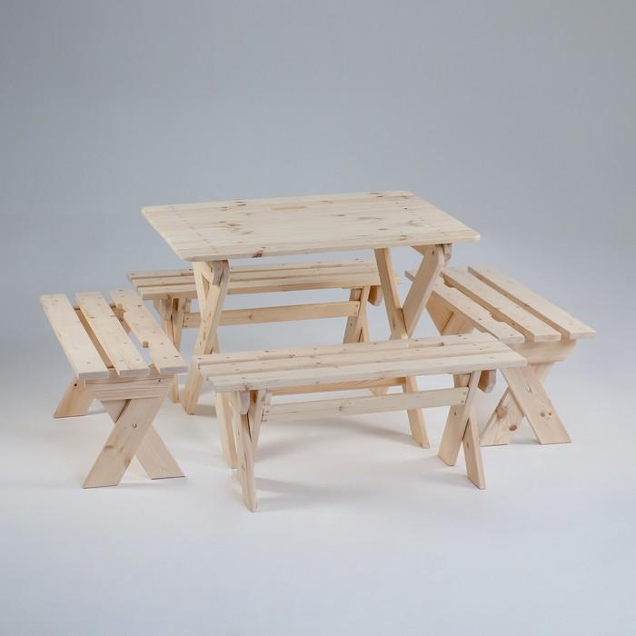 Комплект садовой мебели Душевный  стол 1,2 м, четыре лавки