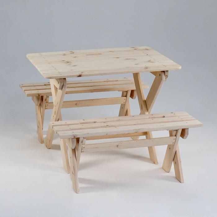 Комплект садовой мебели Душевный стол 1,2 м, две лавки