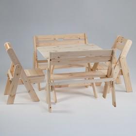 Комплект садовой мебели 'Душевный': стол 1,5 м, две скамейки, два стула Ош