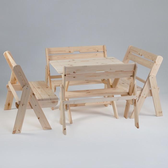 Комплект садовой мебели Душевный стол 1,2 м, четыре скамейки