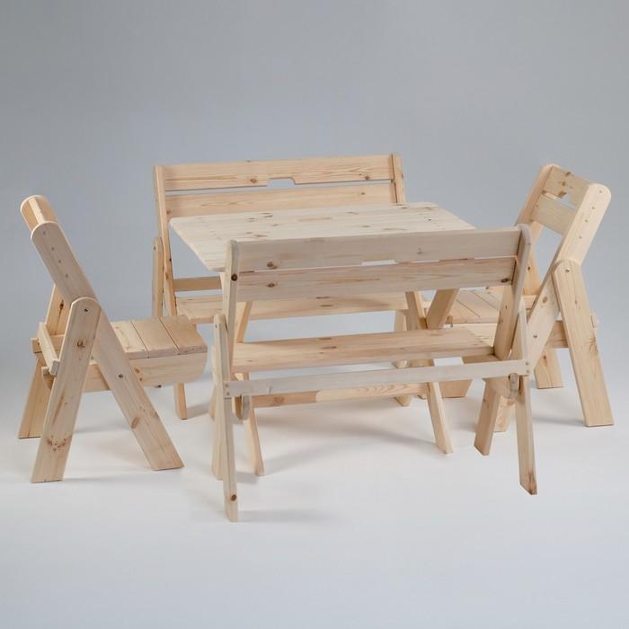 Комплект садовой мебели Душевный стол 1 м, две скамейки, два стула