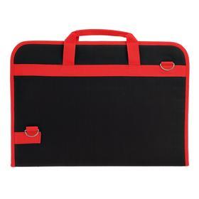 Папка для художников формата А3 с ручками каркасная, 450 х 320 х 30 мм, чёрная красный кант, Estado