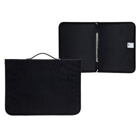 Папка-Портфолио для художесвенных работ формата А3 с ручками, на кольцах, 460 х 330 х 30мм, черная (текстильная), Estado