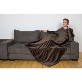 Плед с рукавами, цвет шоколад, 150х200 см, рукав — 27х52 см, аэрософт