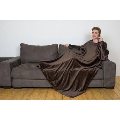 Плед с рукавами, цвет шоколад, 150х200 см, рукав — 27х52 см, аэрософт - Фото 1