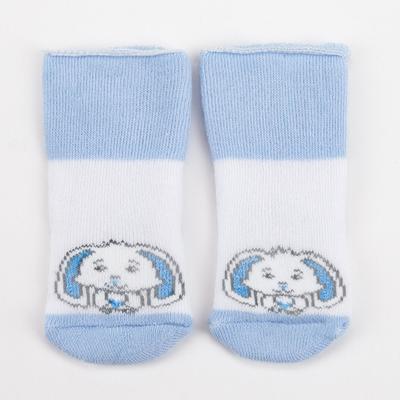 Носки детские махровые, цвет белый/голубой, размер 7-8