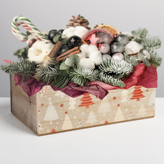 Деревянный ящик без ручки «Ёлки», 24.5 × 14.5 × 9 см