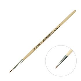 Кисть Колонок Круглая №0 (диаметр обоймы 1 мм; длина волоса 5 мм), деревянная ручка, Calligrata Ош