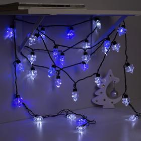 Гирлянда 'Нить' улично-комнатная с насадками 'Ель большая', 5 м, LED(IP44)-40-220V, мигает, нить тёмная, свечение бело-синее Ош