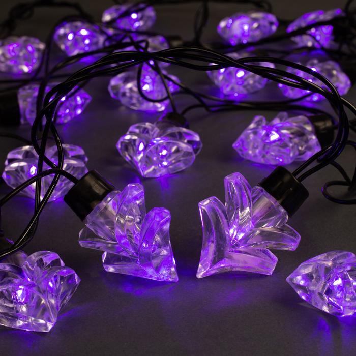 Гирлянда Нить улично-комнатная с насадками Ель большая, 5м, LEDIP44-40-220V, 8 режимов, нить тёмная, свечение фиолетовое
