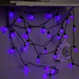 Гирлянда 'Нить' улично-комнатная с насадками 'Ель большая', 5м, LED(IP44)-40-220V, 8 режимов, нить тёмная, свечение фиолетовое Ош