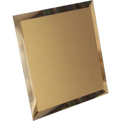 Квадратная зеркальная бронзовая матовая плитка с фацетом 10 мм, 100х100 мм