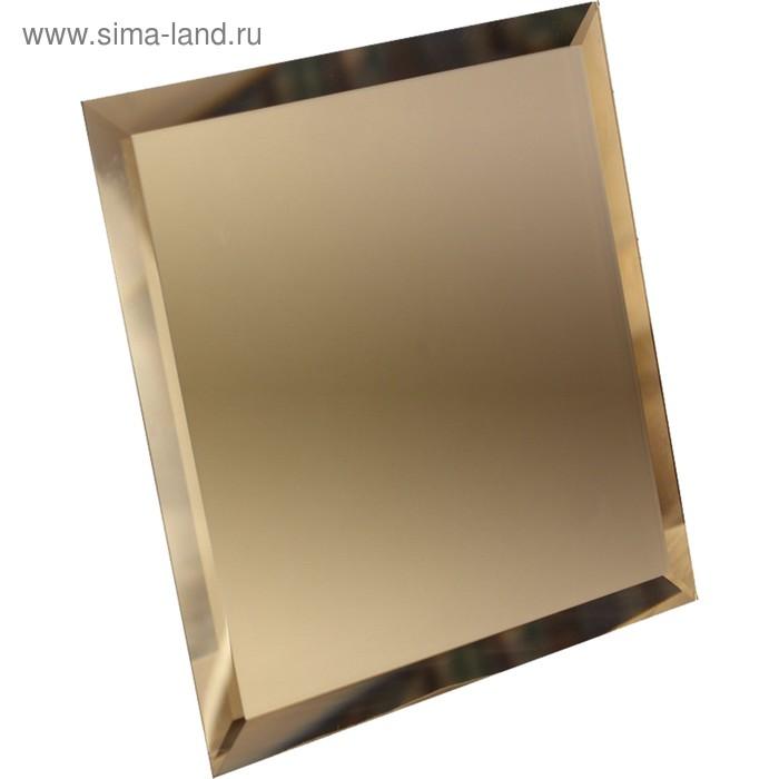 Квадратная зеркальная бронзовая плитка с фацетом 10 мм, 100х100 мм