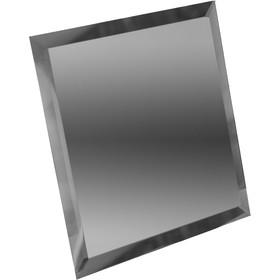Квадратная зеркальная графитовая плитка с фацетом 10 мм, 100х100 мм