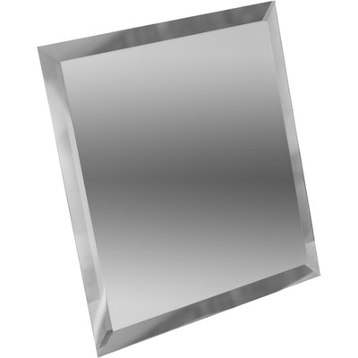 Квадратная зеркальная серебряная плитка с фацетом 10 мм, 100х100 мм