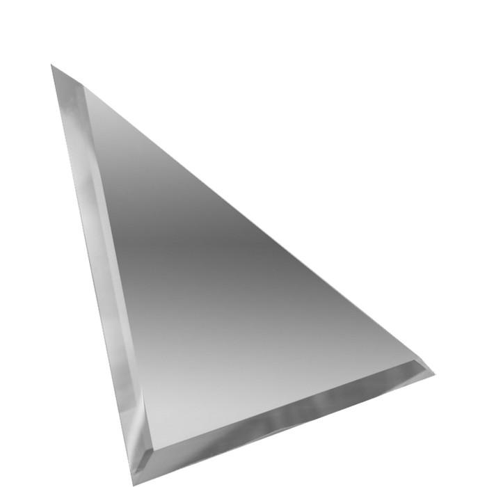 Треугольная зеркальная серебряная матовая плитка с фацетом 10 мм, 150х150 мм