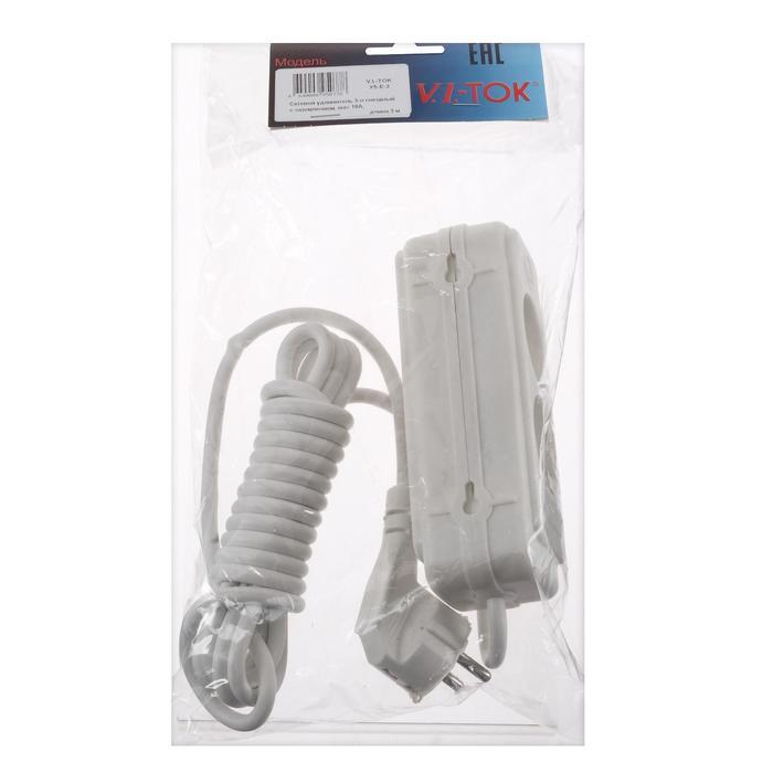 Удлинитель V.I.-TOK У5-Е, 5 розеток, 3 м, 16 А, 3 гн. с з/к + 2 гн. без з/к, белый
