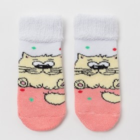 Носки детские махровые «Кот», цвет светло-персиковый, размер 9-10