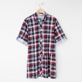 Рубашка-платье женская, цвет красный, размер 46