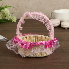 Корзина декоративная 'Горошек' розовые рюши 13х11х11 см Ош