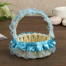 Корзина декоративная 'Горошек' голубые рюши 13х11х11 см Ош