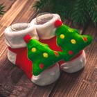 """Новый год,подарочный набор: браслетики + носочки- погремушки """"Дед мороз"""", р-р носочков 10-14 (10-14 см) - Фото 3"""