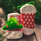 """Новый год,подарочный набор: браслетики + носочки- погремушки """"Дед мороз"""", р-р носочков 10-14 (10-14 см) - Фото 4"""