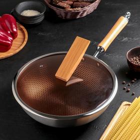 """Сковорода- Wok 32 см """"Алмаз Lux"""", с антипригарным покрытием, стелянная крышка, индукция"""
