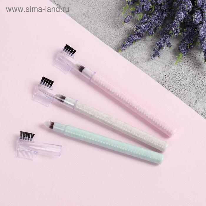 Кисть для макияжа «SAND», с щёточкой, 12,3 см, цвет МИКС