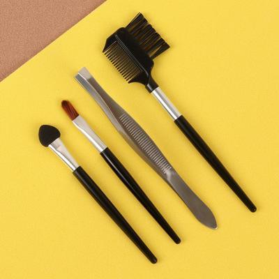 Набор для макияжа, 4 предмета, цвет чёрный/серебряный - Фото 1
