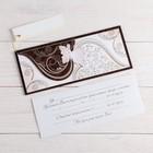 """Деревянная открытка-приглашение """"Свадебная"""" конгрев, накладной элемент, бабочка"""