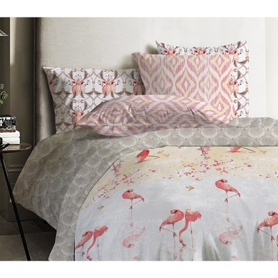 КПБ «Фламинго», 1,5 сп, размер 150 × 215 см, 145 × 210 см, 70 × 70 см - 2 шт., ранфорс - Фото 1