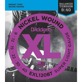 Струны для электрогитары D'Addario EXL120BT Nickel Wound Super Light, 09-40