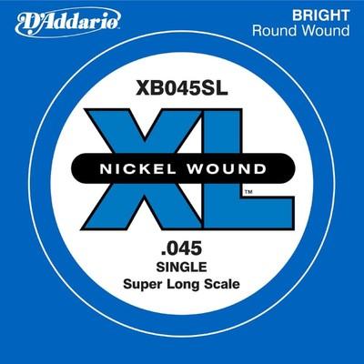 Отдельная струна для бас-гитары D'Addario XB045SL Nickel Wound никелированная, .045, Super Long   45