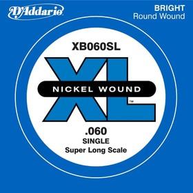 Отдельная струна для бас-гитары D'Addario XB060SL Nickel Wound никелированная, .060, Super Long   45
