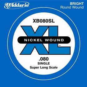 Отдельная струна для бас-гитары D'Addario XB080SL Nickel Wound никелированная, .080, Super Long   45