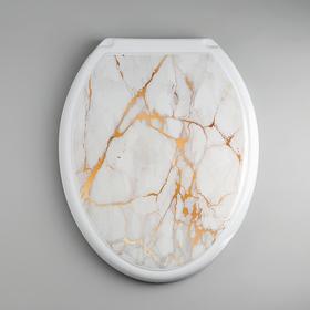 Сиденье для унитаза с крышкой «Декор. Белый мрамор», цвет белый