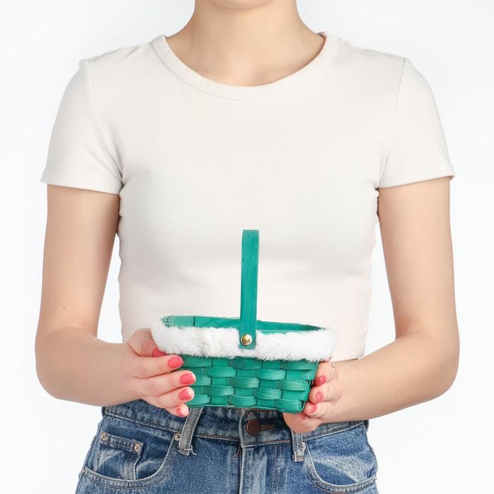 Корзина «Новогодняя», зелёная, 15×12×7,5/25 см, шпон