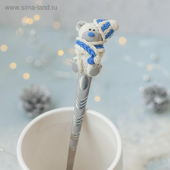 """Ложка для декора полимерной глиной """"Белый мишка"""""""
