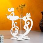 """Кашпо деревянное 13.5×13×22 см с 1 колбой """"Балерина"""", белый Дарим Красиво - Фото 1"""