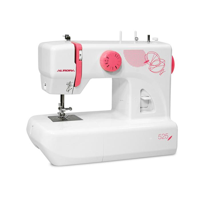 Швейная машина Aurora 525, 70 Вт, 13 операций, полуавтомат, бело-розовая