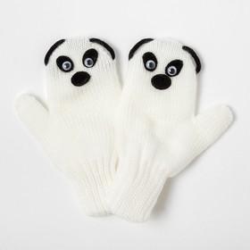 Варежки для девочки двойные «Панда», белый, размер 12