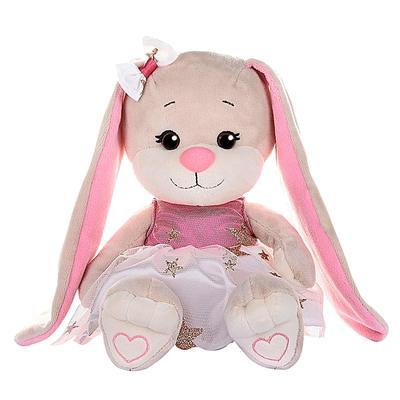 Мягкая игрушка «Зайка Lin», в бело-розовом плате со звездочками, 20 см - Фото 1