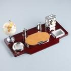 Набор настольный 7в1(часы, лок д/бумаги,визитица,глобус, подст д/печати,каранд) 40*20*17,микс