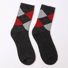 Носки мужские махровые, цвет тёмно-серый, размер 27-29