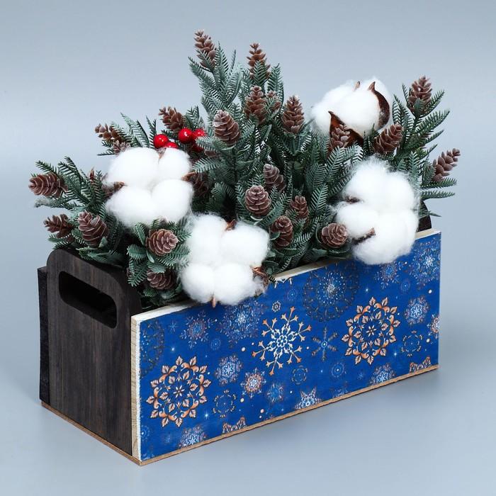 Деревянный ящик с ручками «Снежинка», 24.5 × 5 × 10 см
