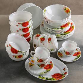 """Сервиз столовый """"Чайные розы"""", 37 предметов"""