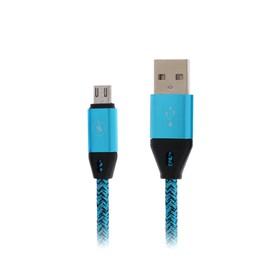 Кабель LuazON, micro USB - USB, 1 А, 1 м, оплётка нейлон, синий Ош