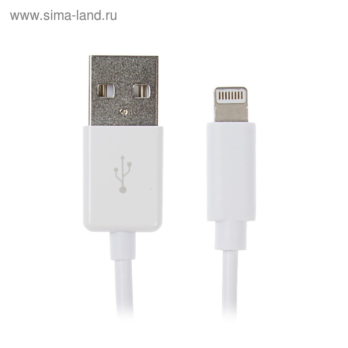 Кабель Seven, lightning - USB, 1 А, 1 м, белый